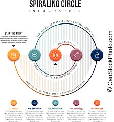 Spiraling Circle Infographic - Vector illustration of...