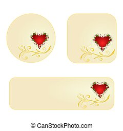Banner and buttons Valentines day heart with jasmine...