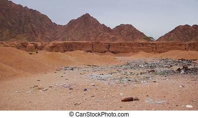 Garbage in the Desert of Egypt. Dirty Sahara. Broken...