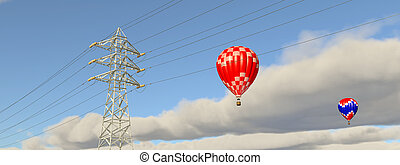 Hot air balloons and overhead power line - Computer...