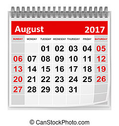 Calendar - August 2017 , This is a 3d rendered computer...