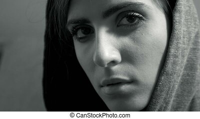 Woman thinking about problem black and white closeup