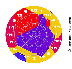 Colorful dartboard - Computer generated 3D illustration with...
