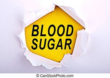 Words Blood Sugar on ripped paper - Business, technology,...