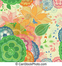 Butterflies and Garden Inspired Seamless Pattern in a Modern Style