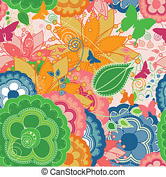 Colorful Modern Seamless Pattern with Butterflies and Flowers