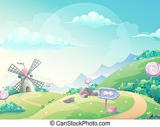 Vector illustration landscape with marmalade candy mill -...