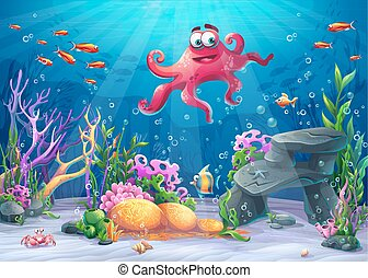 Vector illustration of sea landscape with octopus -...