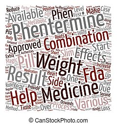 Phentermine And Healthy Weight Loss text background wordcloud concept