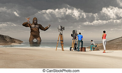 Huge gorilla, woman in his hand and film crew - Computer...