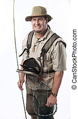 Fly fisherman ready for catching trout