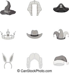 Hats set icons in monochrome style. Big collection of hats vector symbol stock illustration