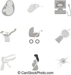 Pregnancy set icons in monochrome style. Big collection of pregnancy vector symbol stock illustration