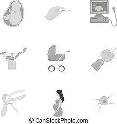 satz, heiligenbilder, groß,  symbol, Sammlung, vektor, abbildung, Schwangerschaft, monochrom, Stil, Bestand