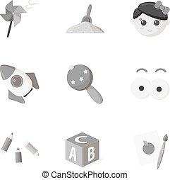 satz, heiligenbilder, groß,  symbol, Sammlung, vektor, abbildung, Spielzeuge, monochrom, Stil, Bestand