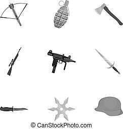 Weapon set icons in monochrome style. Big collection of weapon vector symbol stock illustration