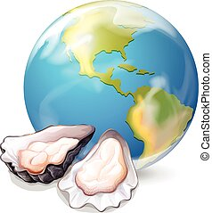 Oysters and earth in background illustration