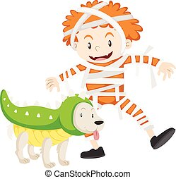 Boy and dog in halloween costumes illustration