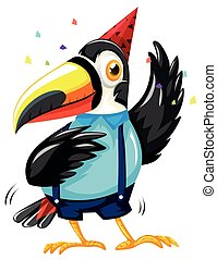 Toucan bird wearing party hat illustration