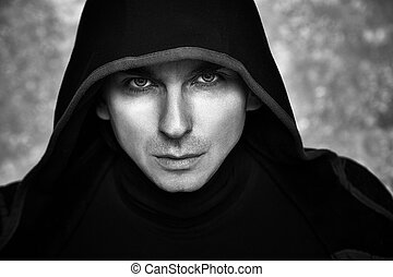 Mysterious Man in Black Hoodie. Sexy Fantasy Guy. -...