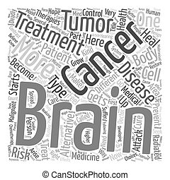 Prevent brain cancer alternative treatment text background...