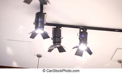 Studio lighting on the ceiling