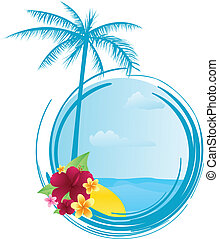 Round summer banner with flowers - Round summer banner with...