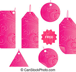 Pink floral swirl shopping labels