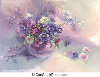 violet asters watercolor still-life - Bouquet of violet...