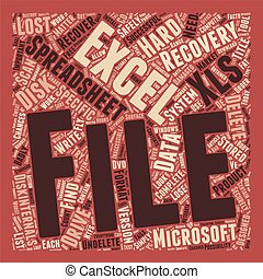 Recover Deleted Excel Spreadsheets text background wordcloud...