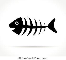 fishbone icon on white background - Illustration of fishbone...