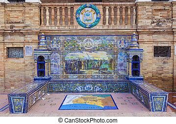dachówki, skwer, Seville, Oszklony, ława, prowincja,...