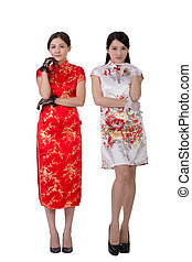 Chinese woman in traditional cheongsam