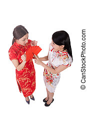 woman dress traditional cheongsam - Attractive Chinese woman...