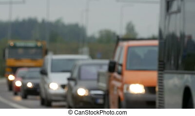 Unfocused view on traffic jams in Lithuania, Blurred scene....