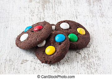 chocolate cookies with sugar coated chocolate
