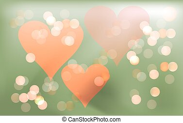 Pink romantic background for Valentines day with hearts and...