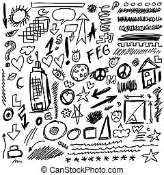 set doodle shapes, lines and curves, vector design element