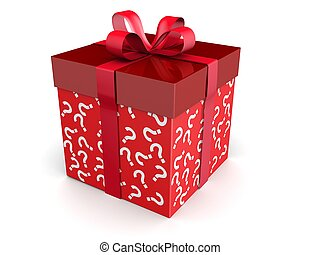 Mystery gift and surprises concept gift box with question...
