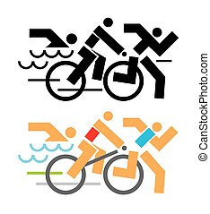 Triathlon competitors icons - Black and colorful Icons...