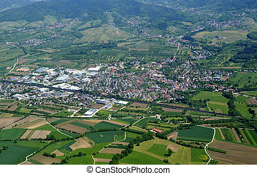 Otterweier, baden aerial - aerial view of a town surrounded...