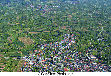 Renchtal, Baden aerial - aerial view of a town surrounded by...