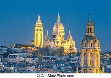 Paris. Basilica Sacre Coeur - Sacre Coeur on top of...