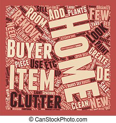 Seven Steps to De Clutter Your Home for Sale text background...