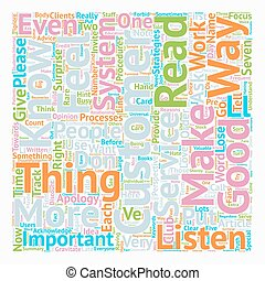 Seven Ways to Make Your Customers Feel Important text background wordcloud concept