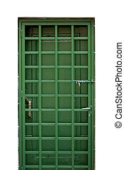 green metal door - Green door and locked protective metal...