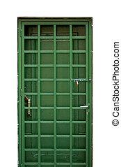green metal door - Green door and locked protective metal...