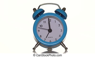 Alarm clock on white background. at 00:00 hours