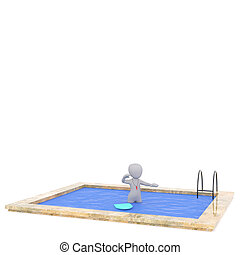 3D rendered figure stands in ground pool while wearing a red...