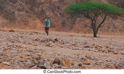 Lost in the Desert Man Runs to the Green Tree and Shade....